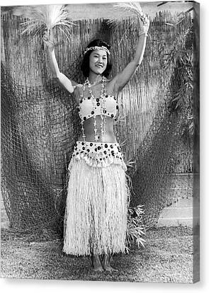 A Young Hawaiian Hula Woman Canvas Print by Underwood Archives