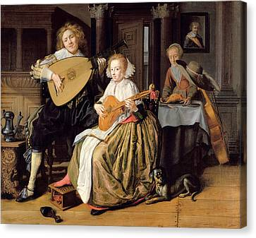 A Young Man Playing A Theorbo And A Young Woman Playing A Cittern, C.1630-32 Oil On Canvas Canvas Print by Jan Miense Molenaer