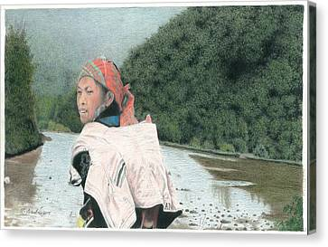 A Young Vietnamese Mother With Her Baby Canvas Print by Wilfrid Barbier