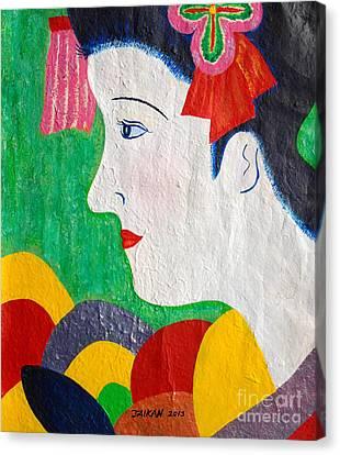 A Girl In Kyoto By Taikan Nishimoto Canvas Print by Taikan Nishimoto
