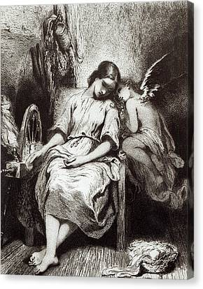 A Young Woman Dozing With An Angel Canvas Print