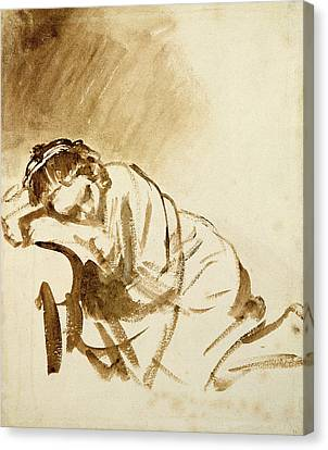 A Young Woman Sleeping Canvas Print by Rembrandt Harmensz van Rijn