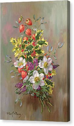 Holly Berry Still Life Canvas Print - A Yuletide Posy by Albert Williams