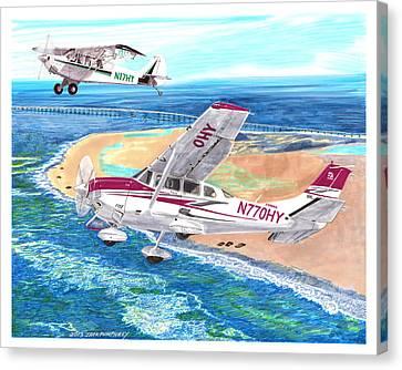 Cessna 206 And A1a Husky Canvas Print by Jack Pumphrey