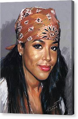 Canvas Print featuring the drawing Aaliyah by Viola El