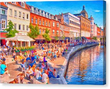 Aarhus Canal Digital Painting Canvas Print by Antony McAulay