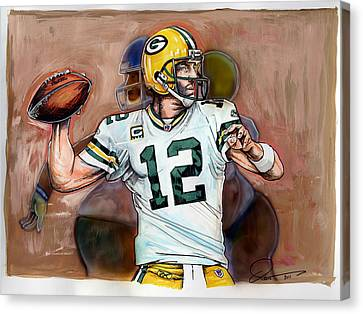 Aaron Rodgers Canvas Print by Dave Olsen