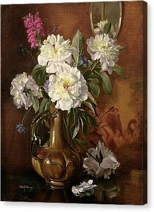White Peonies In A Glazed Victorian Vase Canvas Print by Albert Williams