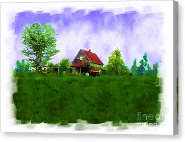 Abandond Farm House Digital Paint Canvas Print by Debbie Portwood