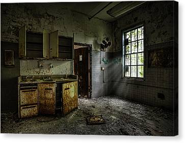 Abandoned Building - Old Asylum - Open Cabinet Doors Canvas Print by Gary Heller