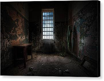 Abandoned Building - Old Room - Room With A Desk Canvas Print by Gary Heller
