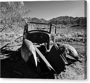Panamint Valley Canvas Print - Abandoned Car Ballarat Ca by Troy Montemayor