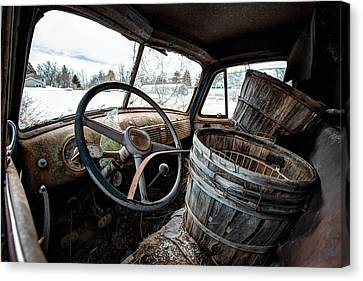 Old American Truck Canvas Print - Abandoned Chevrolet Truck - Inside Out by Gary Heller