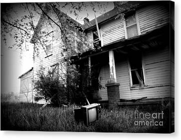 Abandoned Farm House Black And White Canvas Print by Catherine Sherman