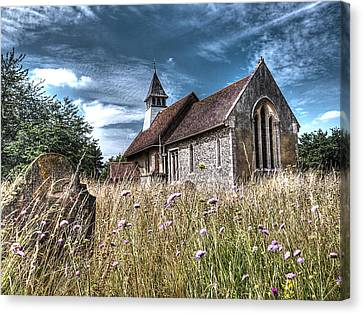 Abandoned Grave In The Churchyard Canvas Print