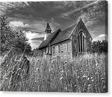 Abandoned Graveyard In Black And White Canvas Print by Gill Billington