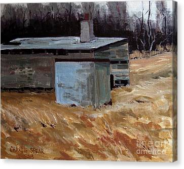 Abandoned Ice House Circa Late 1800.s Canvas Print by Charlie Spear
