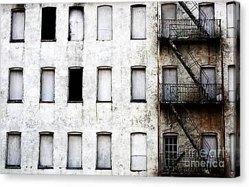 Fire Escape Canvas Print - Abandoned In Asbury Park by John Rizzuto