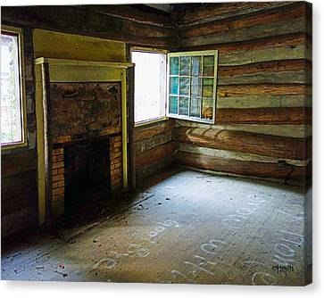 Abandoned Log Cabin Elkmont Old House Window Fireplace Canvas Print by Rebecca Korpita