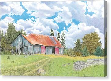Abandoned Old Barn Canvas Print by Wilfrid Barbier