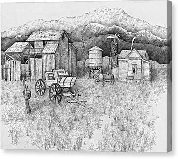 Abandoned Old Farmhouse And Barn Canvas Print