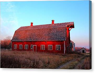 Abandoned Old Red Canvas Print by Larry Trupp
