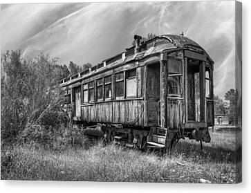 Rail Siding Canvas Print - Abandoned Passenger Train Coach by Daniel Hagerman
