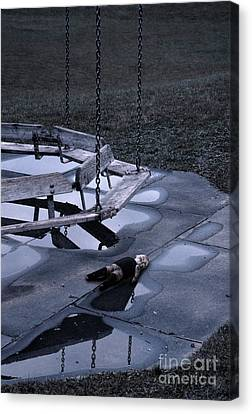 Schoolyard Canvas Print - Abandoned Playground With Old Doll Left Behind by Jill Battaglia