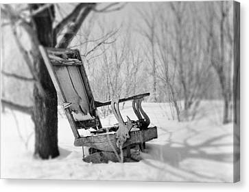 Abandoned Rocking Chair In Woods Canvas Print by Donald  Erickson
