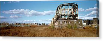Abandoned Rollercoaster In An Amusement Canvas Print by Panoramic Images