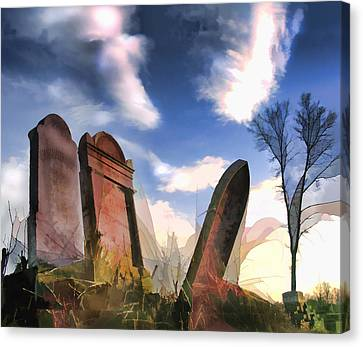 Headstones Canvas Print - Abandoned Tombstones On The Prairie by Elaine Plesser