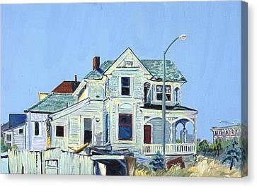 Canvas Print featuring the painting Abandoned Victorian In Oakland  by Asha Carolyn Young