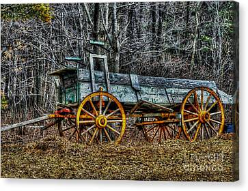 Abandoned Wagon Edge Of Field Canvas Print by Dan Friend
