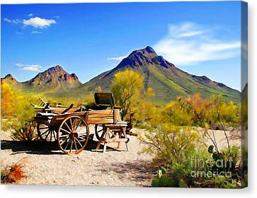 Wagon Wheels Canvas Print - Abandoned Wagon by Michael Petrizzo