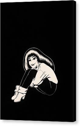 Abbey In Boots Against Black Field Canvas Print by Richard Moore