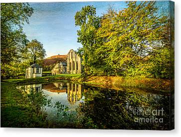Abbey Lake Autumn Canvas Print by Adrian Evans