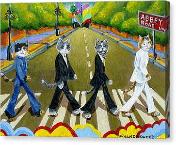 Abbey Road Cats Canvas Print by Jacquelin Vanderwood