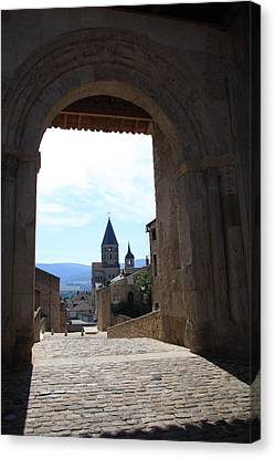 Abbey Through Doorway - Cluny Canvas Print by Christiane Schulze Art And Photography