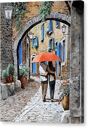 Dating Canvas Print - Abbracciati Sotto L'arco by Guido Borelli