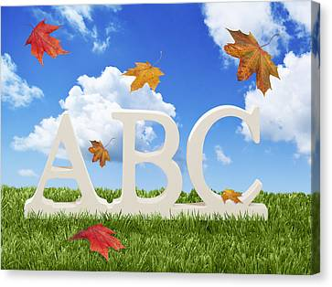 Abc Letters With Autumn Leaves Canvas Print