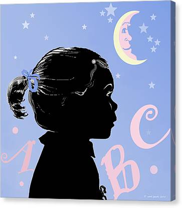 Abc - The Moon And Me Canvas Print by Carol Jacobs