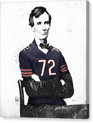 Abe Lincoln In A William Perry Chicago Bears Jersey Canvas Print by Roly Orihuela