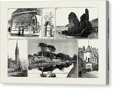 Aberdeen 1. Water-wheel At The Grandhol Tweed Mills. 2 Canvas Print by English School