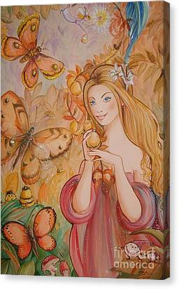 Abigail In The Golden Forest Canvas Print by Ottilia Zakany