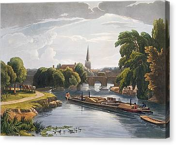 Towpath Canvas Print - Abingdon Bridge And Church, Engraved by William Havell