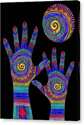 Aboriginal Hands To The Sun Canvas Print by Barbara St Jean