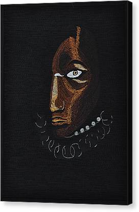 Canvas Print featuring the tapestry - textile Aboriginal Woman by Jo Baner