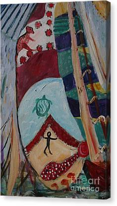 Aborigines Sail Canvas Print by Avonelle Kelsey