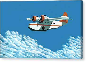 Above It All  The Grumman Goose Canvas Print by Gary Giacomelli