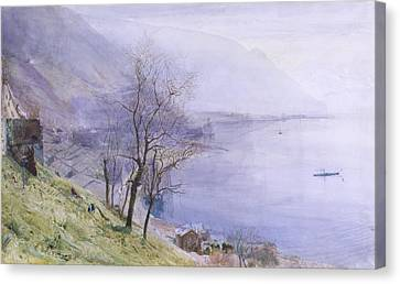 Mountains Canvas Print - Above Montreux by John William Inchbold